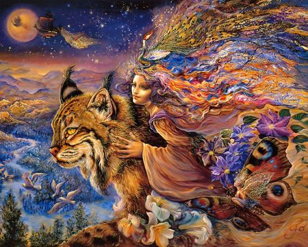 Flight of the Lynx - princess, colorful, moon, forest, starry, abstract, ship, fairy, cat, josephine wall, neon, lynx, fantasy, birds, mountain, woman, sky, butterfly, peacock