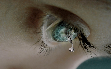 DON'T LET THE TEAR DROP! - cornea, drop, blue, tear, eye, dropping, lashes