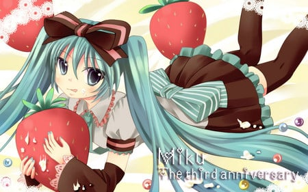 Hatsune Miku - red, vocaloid, pretty, colorful, strawberry, hatsune miku, twintail, miku, bow, cute, hatsune, blue hair, anime, blue eyes, vocaloids, blue
