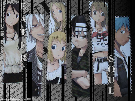 soul eater - liz and patty, death the kid, soul and maka, black star