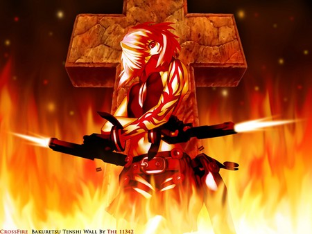 Burst Angel - badass, red, orange, white hair, beautiful, guns, anime, beauty, burst, joe, angel, awsome, short hair, fire, cool, flames, girl, cross