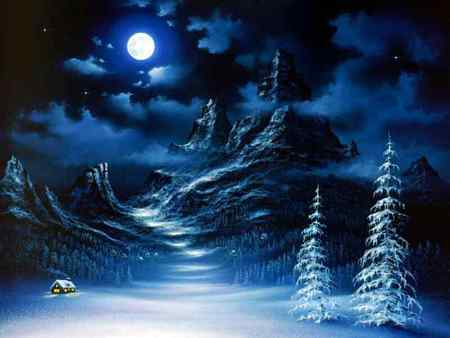Cold Winter Scene - cabin, clouds, puffy, pines, winter, moon, mountains, white, night