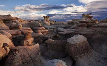 The Bisti Badlands - deserts, sky, formations, blue, badlands, clouds, nature