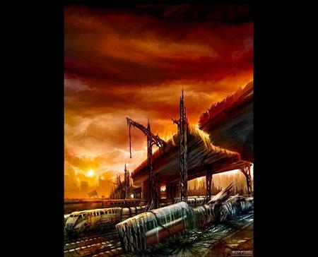 Darktown Train Station Concept 3d And Cg Abstract