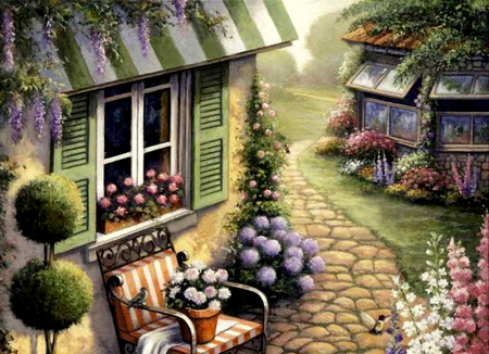 Cobblestone Path - house, topiary, birds, trees, wisteria, shutters, painting, flowers, chair