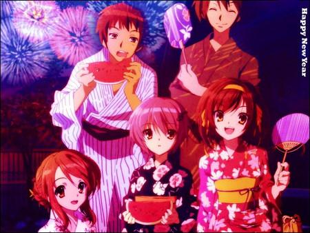 sos brigade new year haruhi anime itsuki kyon mikuru yuki