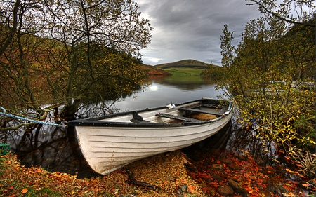 Autumn - colorful, hills, peaceful, lake, rest, red, boat, forest, mountain, landscape, autumn, sky, colors, water, boats, nature, trees, reflection, beauty, beautiful, river, clouds, stones, leaves