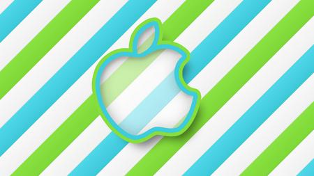 Apple - apple, stripes, green, abstract, blue