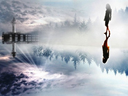Woman Water - 3d and cg, background, fog, nice, wallpaper, bright, sunrises, dawn, brightness, silhoutte, collage, smoky, sunrays, white, red, beautiful, woman, cold, leaves, roots, bridge, people, smoke, other, blue, pier, shadow, adobe, icy, nature, desktop, reflected, branches, architecture, foggy, clouds, women, fantasy, lightness, lighthouses, morning, trees, pines, sky, abstract, water, cool, awesome, ice, photoshop, fullscreen, colorful, gray, trunks, photography, sunsets, mirror, light, amazing, photo, multi-coloured, colors, leaf, colours, frozen, reflections, natural