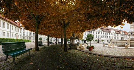Beautiful Autumn - architecture, autumn, monuments, buildings, houses, town, bench, beautiful, park, trees, statues, nature, alley