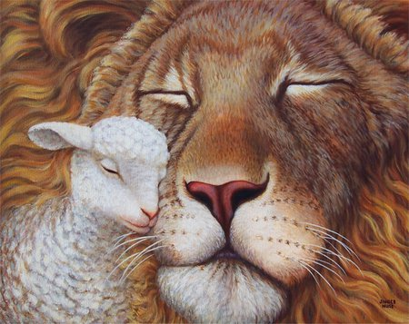 Just A Big Pussy Cat - cuddle, lamb, friendship, lion, love