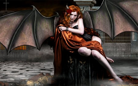Beautiful Lady Bat - red, fantasy, female, demon, wings, dark, bat, woman