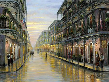 New Beginnings - streets, buildings, lights, history, rain, new orleans, people