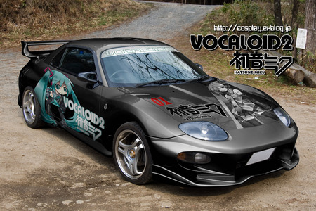 Mitsubishi FTO with Hatsune Miku custom paint - mitsubishi fto, hatsune miku, anime, car, vocaloids, blue eyes, blue, vocaloid, spoiler, mitsubishi, paint, twintail, rims, miku, black, fto, custom, custom paint, chibi, cool, blue hair, awesome
