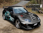 Mitsubishi FTO with Hatsune Miku custom paint