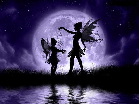 Fairy sisters - stars, wings, fairy dust, playful, beautiful, magic, clouds, lake, moon, purple, fairies, girls, reflection