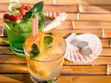 Tropical Drinks - mint, cherries, refreshing, shells, glasses, lemon, cocktails