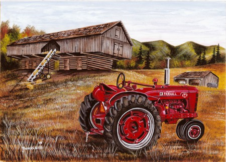 A Farmall Super - farm, tractor, shed, country, trees, escalator, barn