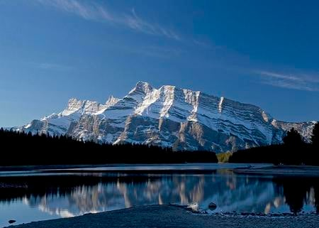 Awesome Alberta - trees, lake, mountain, alberta, calm, snow, peaks, blue sky, reflection, canada