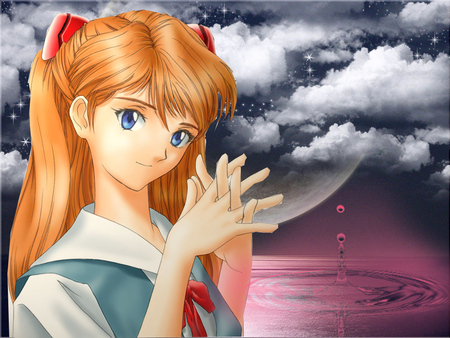cute girl in dreams - cute, moon, water, girl, dreams, clouds