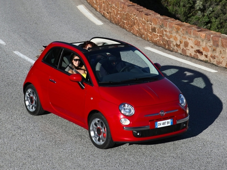 Fiat 500C - 500, mini, red car, italian, small car, fiat 500, fiat