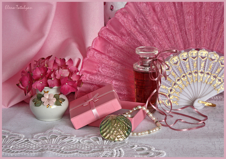 still life - perfume, photo, necklace, lace, vase, beautiful, gift, nice harmony, still life, photography, cool, gentle, flower bouquet, flower, pink
