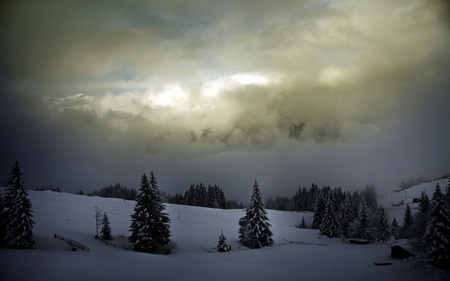 Winter - overcast, bridge, mountains, serene, nature, shrouded, beautiful, farms, snow, valley, clouds, pines
