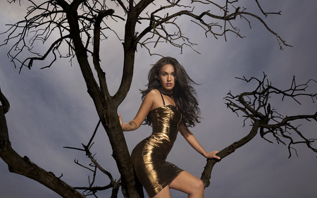 Shiny Gold Dress - tree, gold, dress, model, actress, people, striking, beautiful