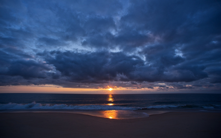 Eastern Shore Sunrise - sunrise, colors, waves, nature, beaches, beautiful, reflection, clouds, sea, calm