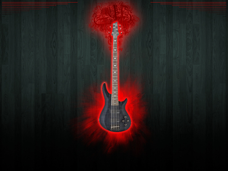 BASS - bass, wood, instraments, bass guitar, music, black, red