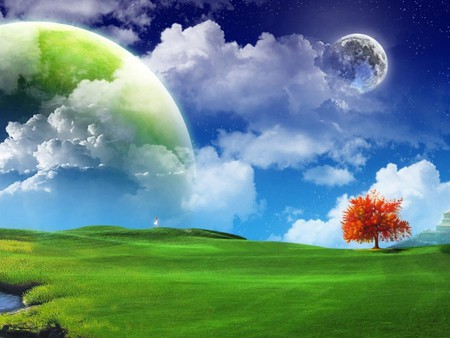 Fantasy World - grass, fantasy, field, green, abstract