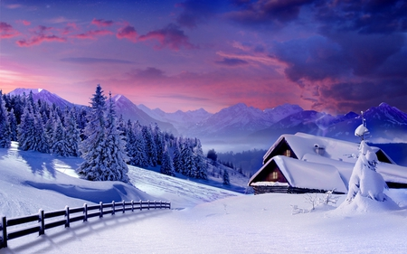 Winter - architecture, purple sky, house, sun, chalet, sunset, cabin, magic, clouds, mountain, splendor, beauty, forests, evening, morning, christmas, houses, december, sky, trees, winter, skies, merry christmas, snow, purple, mountains, white, landscape, fence, scenic, christmas tree, cottages, cottage, home, homes, beautiful, cold, sow, fences, sunsets, purple sunset, pink, cabins, blue, gorgeous, forest, view, snowscapes, fens, colors, winter time, santa, peaceful, nature