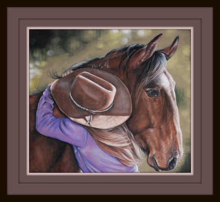 Her Best Friend - girl, friendship, love, devotion, horse, togetherness, hat
