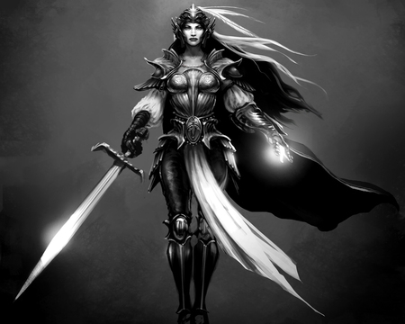 Knight - bw, fantasy, warrior, knight