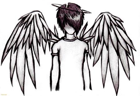 Emo Angel - wings, white, emo, boy, black, angel