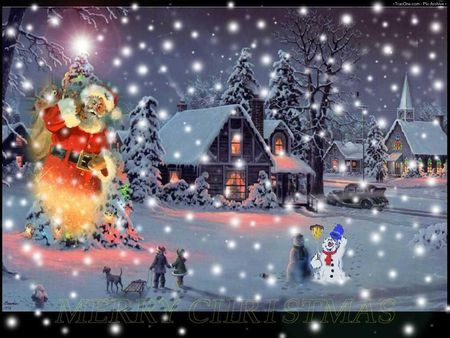 winter snow xmas - snow, snowman, winter, fantast, xmas, abstract, nigth