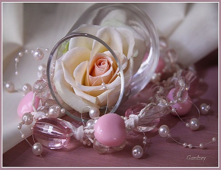 Delicate beauty - white, pink, beads, pearls, flower, beautiful, rose, glass, delicate
