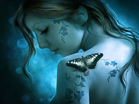 BUTTERFLY BLUE - butterfly, digital, blue, gorgeous, cute, beautiful, tattoo, tattoos, butterflies, pretty, female, art, digital art
