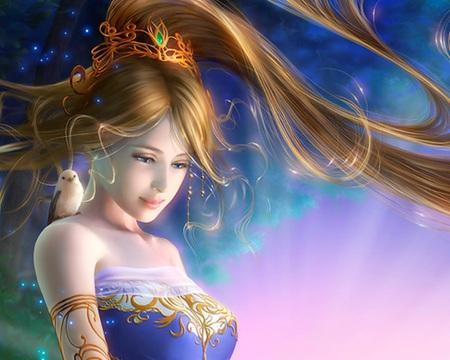 Fantasy  - princess, anime, magic, cute, sweet, bird, sexy, female, lady, maiden, hot, nice, animal, beauty, beautiful, fantasy, girl, anime girl