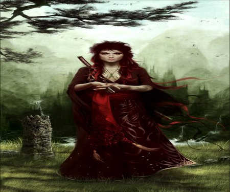 RED WITCH - red, witch, swords, trees, warriors, melanie delon, fantasy, dark, weapon, castle, sword