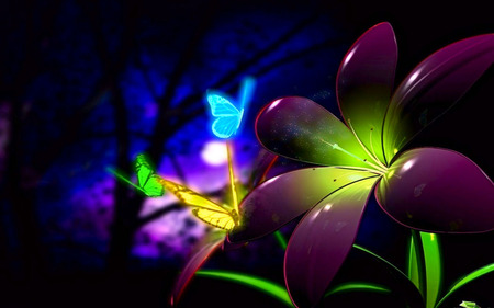 Fluorescent 3D Flowers - color, colorful, 3d, fluorescent, flowers, butterflies, abstract, 3d flowers, 3d flower