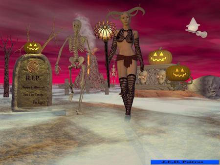 Horney - demon, female, jack-o-lanterns, horned, halloween