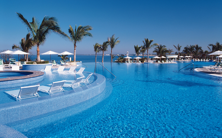 Blue paradise - refreshing, blue, crystal clear, water, pool, amazing, paradise, palm trees, chairs