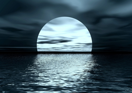 Full Moon - ocean, peaceful, sky, water, waves, nature, beauty, beautiful, reflection, moonlight, clouds, moon, night, sea
