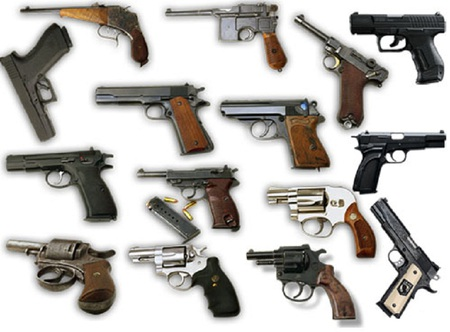 Side-Arms - pistols, guns, revolvers, automatics