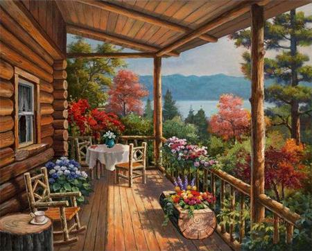 Log Cabin by the Lake - veranda, porch, lake, painting, rocking chair, tree, evening, sea, flowers, summer, mountains, trees, table, sitting, cabin, cottage, house, window, season, art, chairs, fence