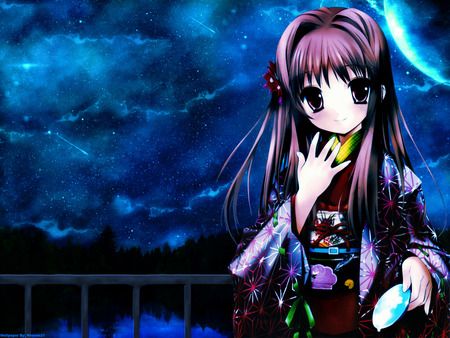 Mystic Midnight - cute, beautifull, beauty, midnight, anime girl, kimono, sky, mystic