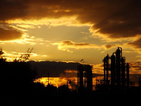 industrial landscape - factorys, sunset, sky, surreal, abstract, trees, nature, sun, clouds, industry, weather, landscape