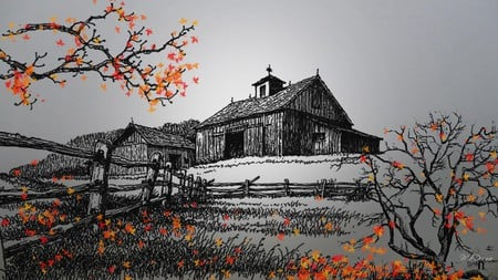 Country Fall In Black White And Color
