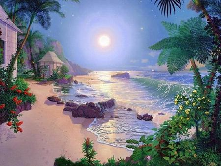 Tranquility Beach - rocks, hut houses, sun, waves, floral bushels, palm trees, beach, sand, water, peaceful, beauty